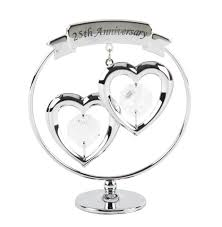 wedding anniversary ornaments silver wedding anniversary ornament with swarovski