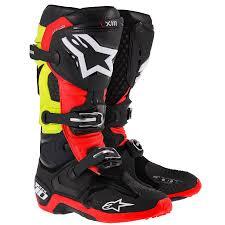 motocross gear boots alpinestars men s tech 10 boots black red yellow off road boots