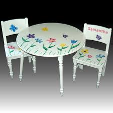 Children S Chair And Table Furniture Round White Wooden Childrens Tables And Chairs Having