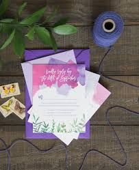 Wedding Invitations Purple Purple And Fuchsia Watercolor Wedding Invitations