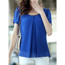 simple scoop neck puff sleeve solid color chiffon s