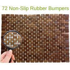folding teak wood bath shower mat with non slip feet easily rolls