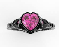 pink and black engagement rings black gold pink sapphire heart and flowers engagement ring unique