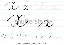 cursive letters learning write dd stock vector 356217365