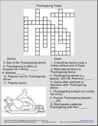 crossword thanksgiving today abcteach
