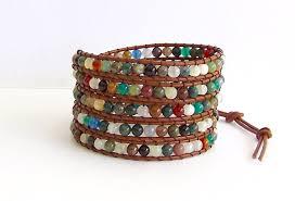 leather wrap bracelet with stones images Leather wrap bracelet fancy jasper agate semi precious stone JPG