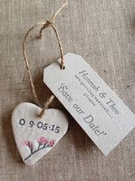 wedding save the date homemade clay heart and letterpresed tag