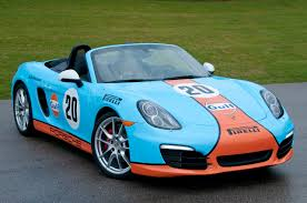 gulf racing porscheboost new 2013 981 boxster in amazing classic gulf racing