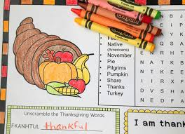 thanksgiving activity page or placemat for free printable