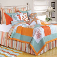 Mediterranean Style Bedding C U0026 F Enterprises Quilts Clearance Blue Orange Bedding Sets And