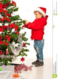 toddler boy decorate tree royalty free stock images image