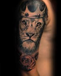 rose nice lion with crown tattoo golfian com