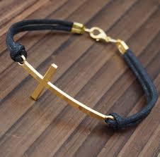 leather bracelet with cross images Cross bracelet mens cross bracelet in gold for men wholesale jpg