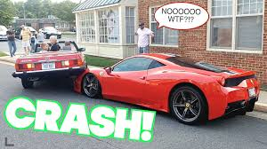 ferrari supercar 2016 woman crashes on top of 400 000 ferrari 458 supercar youtube