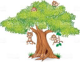 happy little monkey hanging on tree stock vector art 518141382