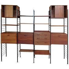 room divider freestanding black metal teak wall shelving storage