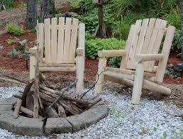 rustic log adirondack chair for outdoor with concrete block fire
