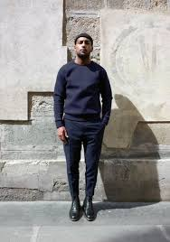 men u0027s navy crew neck sweater navy wool dress pants black leather