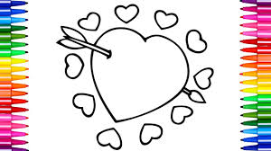 how to color heart coloring pages kids learn drawing nursery