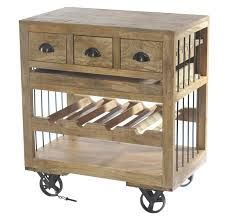 homelegance amara wooden wine cart with shelf on wheels 6479
