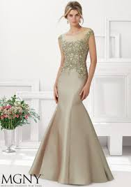 special occasion gown with embroidered lace appliqužes and