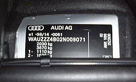audi a6 s6 rs6 vin location vehicle identification chassis