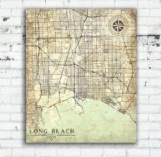 Map Of Long Beach Long Beach Ca Canvas Print California Vintage Map Long Beach