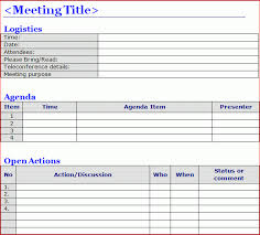 Meeting Schedule Template Excel 6 Meeting Minutes Templates Excel Pdf Formats