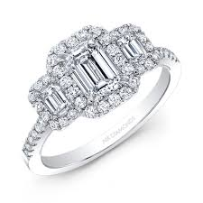 3 diamond rings 3 emerald cut shape solitaire diamond ring with halo in 14kt