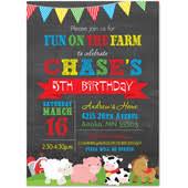 birthday invitations animals farms barnyard pets