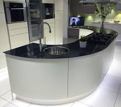 curved kitchen island gloss ivory kitchen island with large curved units and black glass