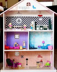 diy bookcase dollhouse let the girls pick out the wallpaper