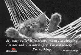 my only relief is to sleep when i m sleeping i m not sad i m