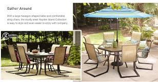 hexagon shaped kitchen table shop the hayden island patio collection on lowes com