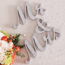 Mr And Mrs Sign For Wedding Silver And Gold Shiny Mr U0026 Mrs Signs Mr U0026 Mrs Letters For