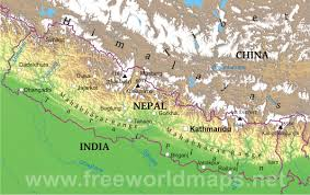 World Geography Map Nepal Physical Map