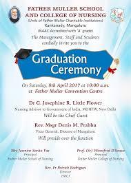 graduation ceremony invitation events muller charitable institutions