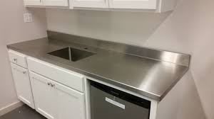 kitchen cool ideas of stainless steel countertops kropyok home stainless steel countertop come with gray stain wall and white stain wooden kitchen cabinet