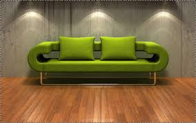 unusual shaped green sofa bed with green cushion also metal legs