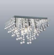Glass Droplet Chandelier Modern Square Chrome Ceiling Light Flush Fitting Crystal Droplet