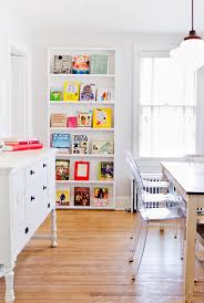 industrial book shelf dining room eclectic with white credenza