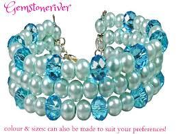 blue quartz bracelet images B34 crystal blue quartz light blue pearls multi strand flexible jpg