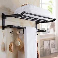 Bathroom Shelves With Towel Rack New Arrival 50 Cm Folding Bathroom Towel Rack Black Brushed