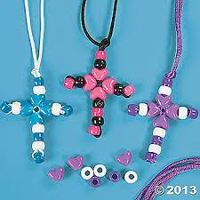 beaded cross necklace images Bead cross necklace using pony beads sunday school craft bible jpg