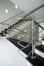 Contemporary Handrail Marble Staircase With A Steel Handrail In A Modern Building