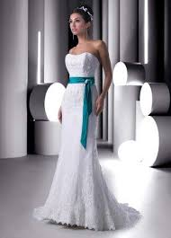 turquoise wedding dresses lace mermaid wedding gown with turquoise sash