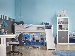 chambre de petit garcon chambre enfant lit mezzanine enfant gris bleu toboggan chambre