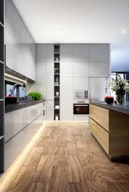 Kitchen Design LED Strip Timber Flooring Grey Interior - Home interior lighting