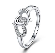 linked wedding rings heart linked to heart wedding ring solid 925