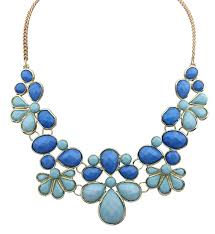 bib necklace flower images 2018 wholesale facted faux stone floral bib necklace pink blue jpg